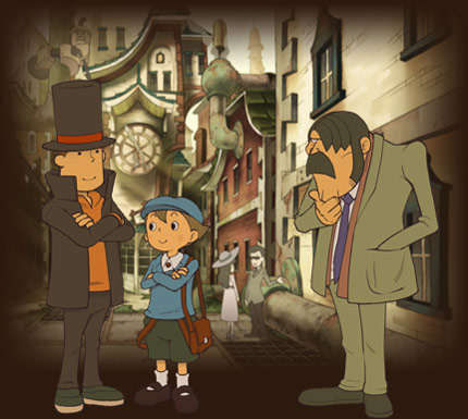 Professor Layton, Luke and Inspector Chelmey